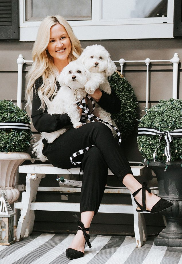 An image of the lovely Sara and her two pooches, Paisley and Dash